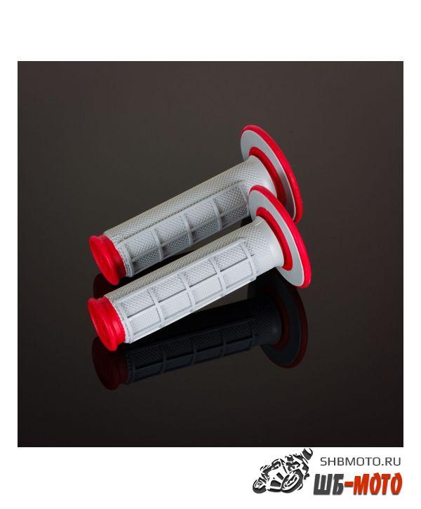Ручки руля Грипсы RENTHAL MX Dual Compound 1/2 Waffle красные