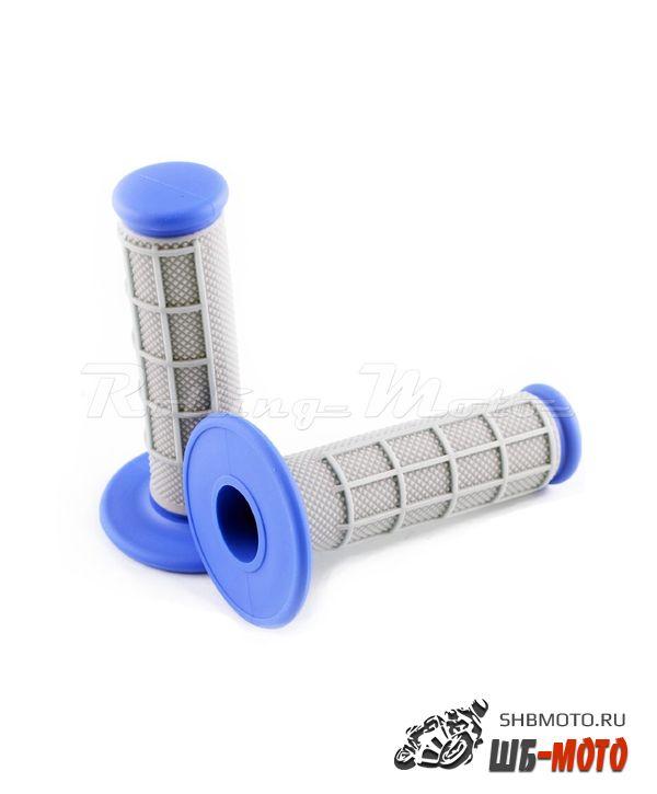 Ручки руля Грипсы SM-PARTS MX двухкомпонентные синие/серые