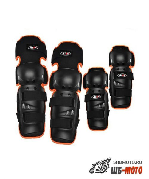 Комплект защиты локтя и колена (4 шт) ATAKI SC-610 черный/оранжевый