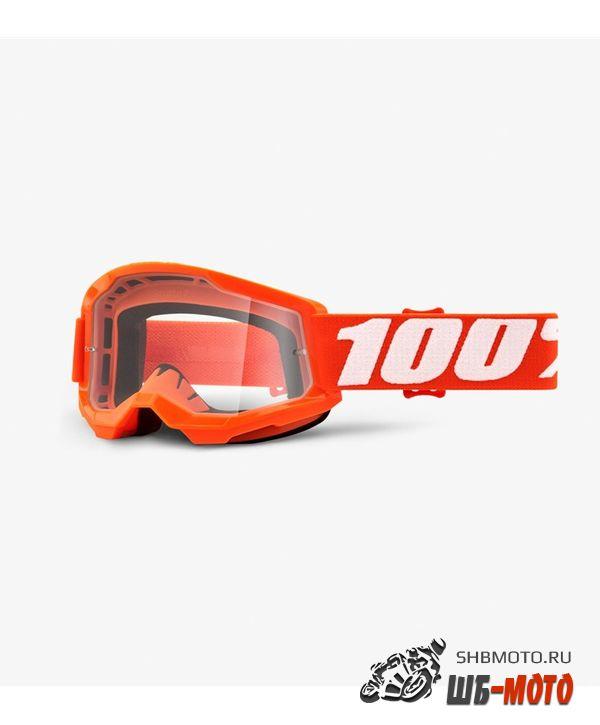 Очки подростковые 100% Strata 2 Youth Goggle Orange / Clear Lens