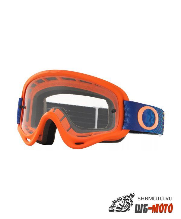 Очки для мотокросса детские OAKLEY O-Frame XS Heritage оранжевые-голубые/прозрачная (OO7030-11)
