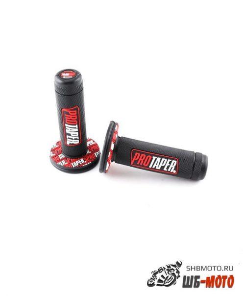 Ручки руля резиновые питбайк (пара) черные/красные PRO-TAPER