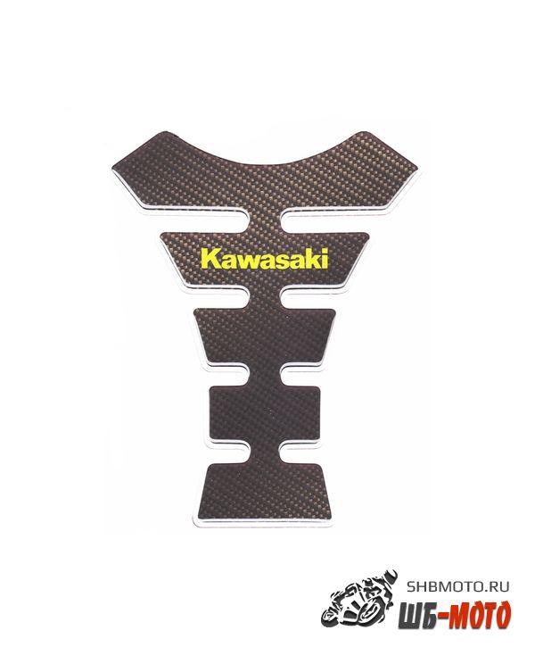 CRAZY IRON Наклейка на бак KAWASAKI GREEN, текстура карбона