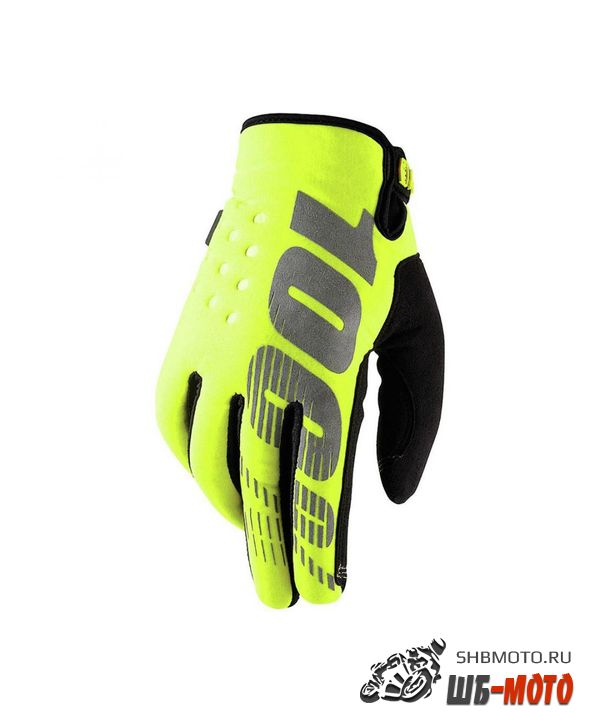 Мотоперчатки 100% Brisker Fluo Yellow
