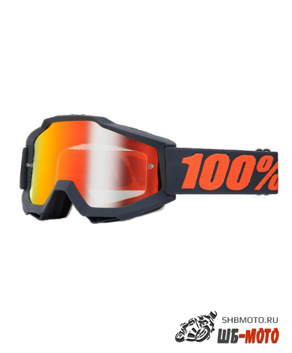 Очки 100% Accuri Matte Gunmetal / Mirror Red Lens