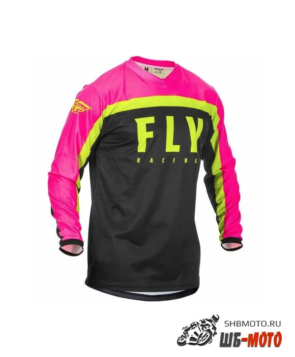 Футболка для мотокросса FLY RACING F-16 розовая/чёрная/Hi-Vis жёлтая (2020)