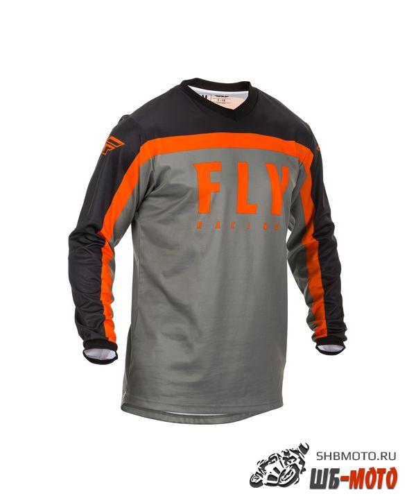 Футболка для мотокросса FLY RACING F-16 серая/чёрная/оранжевая (2020)