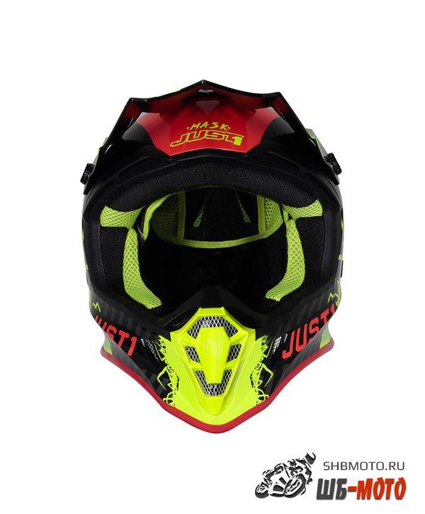 JUST1 Шлем J38 MASK Hi-Vis желтый/красный/черный глянцевый (2021)