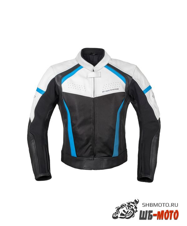 RUSH Мотокуртка BREATHER кожа, цвет Черный/Белый/Синий