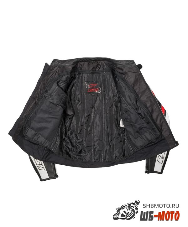 RUSH Мотокуртка BLAZE кожа, Черный/Белый/Красный