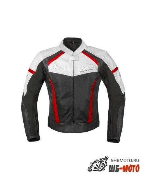 RUSH Мотокуртка BREATHER кожа, цвет Черный/Белый/Красный