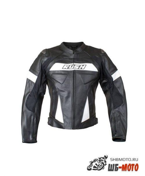 Мотокуртка RUSH CYBORG кожа, цвет Черный/Белый